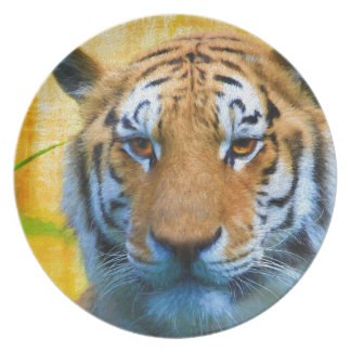 Prato De Festa Tigre no bambu - pintura