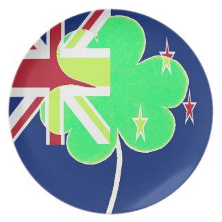 Prato De Festa Trevo St Patrick do trevo da bandeira de Nova