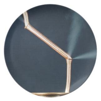 Prato De Festa Tubulações de cobre com um escape e um vapor