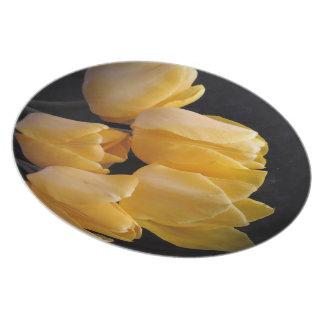 """Prato De Festa """"Tulipas amarelas com um fundo escuro """""""