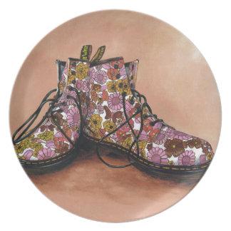 Prato De Festa Um par de botas floridos estimadas