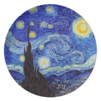 Prato De Festa Uma placa da melamina da inspiração de Van Gogh da