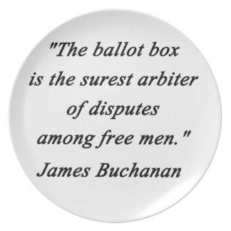 Prato De Festa Urna de voto - James Buchanan