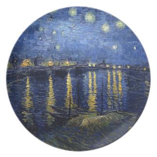 Prato De Festa Van Gogh: Noite estrelado sobre o Rhone