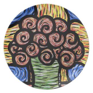 Prato De Festa Vaso abstrato colorido das flores