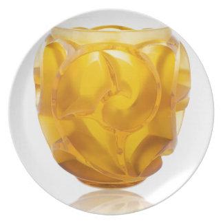 Prato De Festa Vaso amarelo do redemoinho do art deco