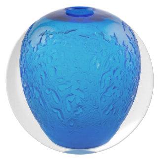 Prato De Festa Vaso de vidro do art deco azul com folhas