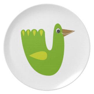 Prato De Festa Verde bonito do pássaro no branco