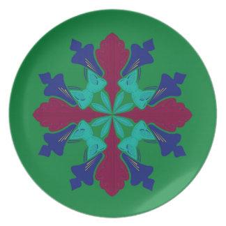 Prato De Festa Verde da mandala do ethno dos elementos do design
