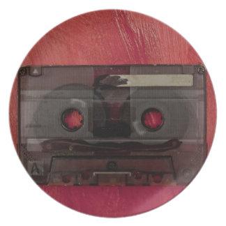 Prato De Festa Vermelho do vintage da música da cassete de banda