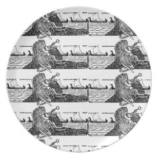 Prato De Festa Viking que cinzela Runes