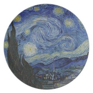 Prato De Festa Vincent van Gogh - noite estrelado. Pintura da