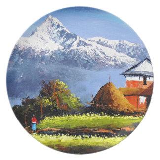 Prato De Festa Vista panorâmica da montanha bonita de Everest