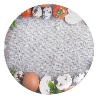 Prato De Festa Vista superior dos ingredientes de comida no