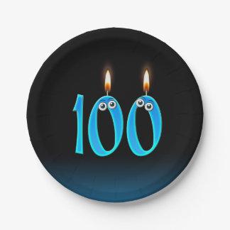 Prato De Papel 100th Aniversário com números iluminados da vela