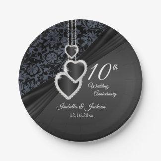 Prato De Papel 10o Aniversário de casamento preto do ônix