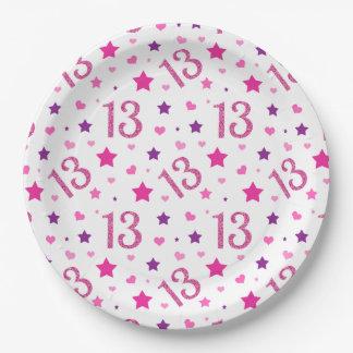 Prato De Papel 13o Placas de papel do brilho do rosa do