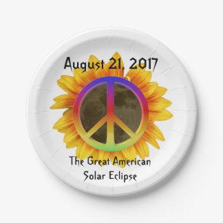 Prato De Papel 2017 eclipse solar, girassol e símbolo de paz
