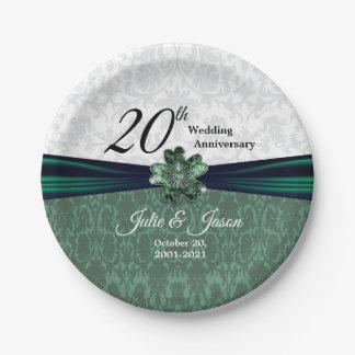 Prato De Papel 20o Design esmeralda do aniversário de casamento