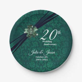 Prato De Papel 20o design esmeralda elegante do aniversário de