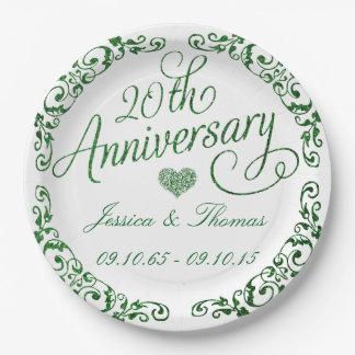 Prato De Papel 20o Placas de papel esmeraldas de aniversário de