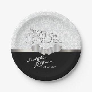 Prato De Papel 25o Aniversário de casamento de prata e branco
