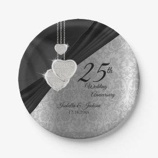 Prato De Papel 25o Aniversário de casamento de prata e preto