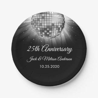 Prato De Papel 25o Bola do disco da prata da festa de aniversário