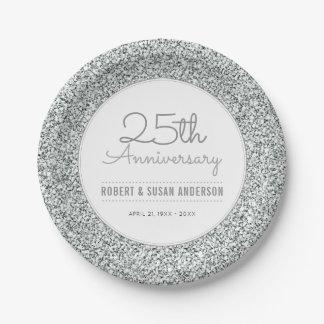 Prato De Papel 25o Brilho da prata do falso do aniversário de