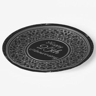 Prato De Papel 25o Placas de papel do medalhão de prata do