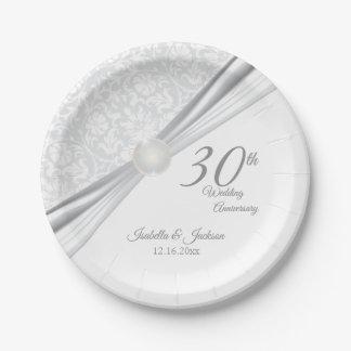 Prato De Papel 30o design bonito do aniversário de casamento da