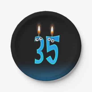 Prato De Papel 35o Aniversário com números iluminados da vela