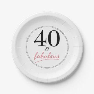 Prato De Papel 40 e placa de papel da festa de aniversário