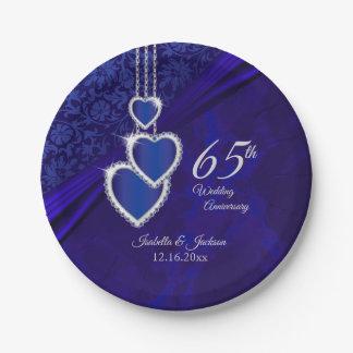 Prato De Papel 45th design do aniversário de casamento da safira