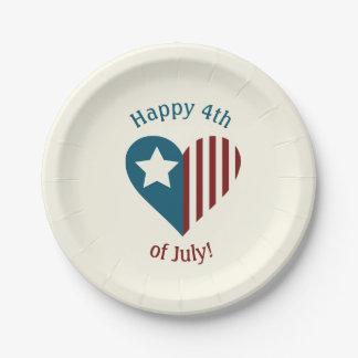 Prato De Papel 4 de julho placas patrióticas temáticos