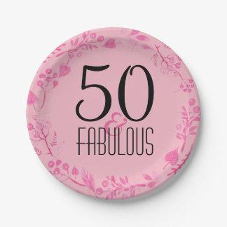 Prato De Papel 50 & aniversário do rosa fabuloso da festa de