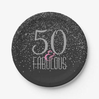 Prato De Papel 50 & aniversário elegante preto fabuloso da prata