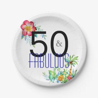 Prato De Papel 50 e 50th festa de aniversário tropical fabulosa