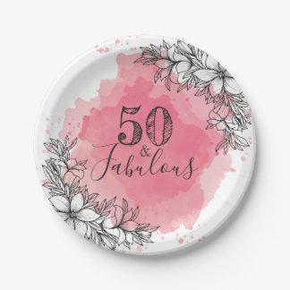 Prato De Papel 50 e fabuloso. Aniversário. Flores no Watercolor.
