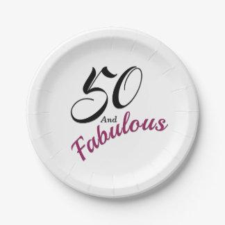 Prato De Papel 50 e fabuloso. Guardanapo de papel da festa de