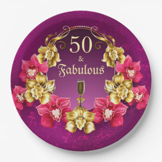 Prato De Papel 50 e orquídeas fabulosas e Champagne do rosa do
