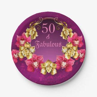 Prato De Papel 50 e ouro fabuloso e orquídeas cor-de-rosa