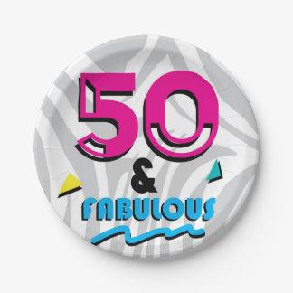 Prato De Papel 50 e placa de papel da festa de aniversário