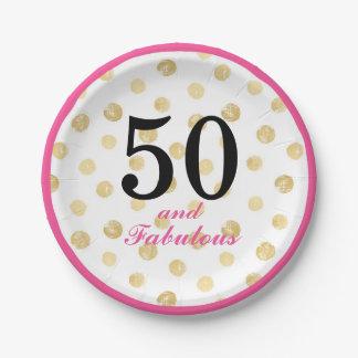 Prato De Papel 50 e placa de papel do partido fabuloso