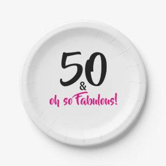 Prato De Papel 50 e placas de papel da 50th festa de aniversário