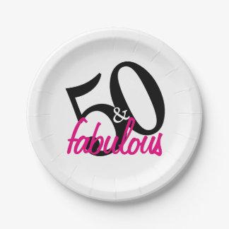 Prato De Papel 50 e placas de papel da festa de aniversário
