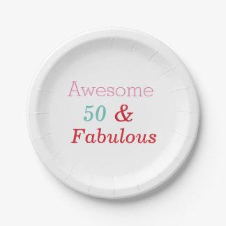 Prato De Papel 50 e placas fabulosas da festa de aniversário