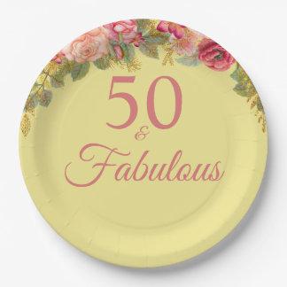 Prato De Papel 50 e rosas cor-de-rosa fabulosos com toques do