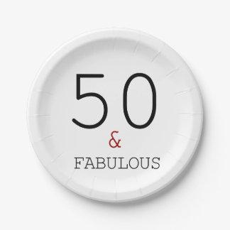 Prato De Papel 50 & fabuloso. Placa de papel da festa de