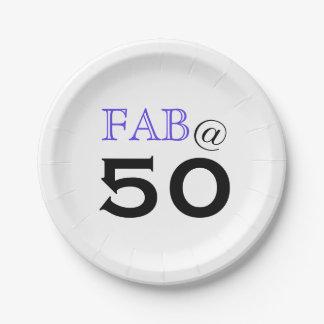 """Prato De Papel """"@ 50"""" fabuloso placa de papel da festa de"""